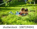 beautiful happy children  boy... | Shutterstock . vector #1087194041