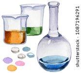 beakers clinic pharmacy set....   Shutterstock . vector #1087196291