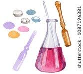 beakers clinic pharmacy set....   Shutterstock . vector #1087196381