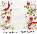 various herbs and spices on... | Shutterstock . vector #1087204097