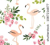 floral bouquets and blush pink... | Shutterstock .eps vector #1087216877