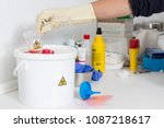 hand of a person cleaning with... | Shutterstock . vector #1087218617
