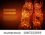 block chain. crypto currency.... | Shutterstock .eps vector #1087222055
