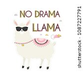 no drama llama. cute card with... | Shutterstock .eps vector #1087227791