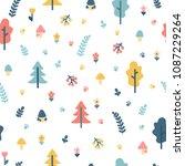 hand drawn seamless pattern... | Shutterstock .eps vector #1087229264