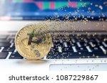 bitcoin fail concept  physical... | Shutterstock . vector #1087229867