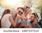 close up of four young cheerful ... | Shutterstock . vector #1087237214