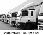 lorries parked up outside a...   Shutterstock . vector #1087255421