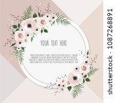vector floral design card.... | Shutterstock .eps vector #1087268891
