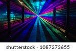 rainbow laser beams shine from...   Shutterstock . vector #1087273655