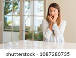 young beautiful woman at home...   Shutterstock . vector #1087280735