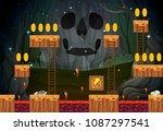 spooky ghost dark game template ... | Shutterstock .eps vector #1087297541