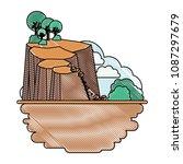 landslide disaster scene icon   Shutterstock .eps vector #1087297679