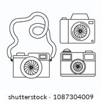 set photographic cameras icons | Shutterstock .eps vector #1087304009