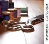 diy concept. sewing supplies ... | Shutterstock . vector #1087309535
