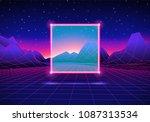 retro 80s styled futuristic... | Shutterstock .eps vector #1087313534