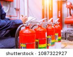 engineer checking industrial... | Shutterstock . vector #1087322927