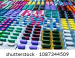 colorful of tablets and... | Shutterstock . vector #1087344509