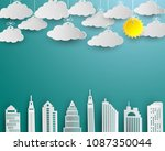 skyscraper and cloud in white...   Shutterstock .eps vector #1087350044