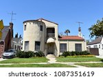 modern villa with lawn.... | Shutterstock . vector #1087351619