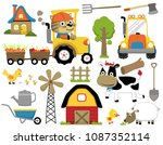 vector set of farm field  farm... | Shutterstock .eps vector #1087352114
