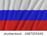 russia flag printed on a... | Shutterstock . vector #1087355345