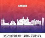 sweden landmark global travel... | Shutterstock .eps vector #1087368491