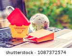 online shopping   ecommerce and ... | Shutterstock . vector #1087372574