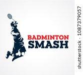 badminton smash silhouette logo ...   Shutterstock .eps vector #1087379057