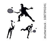 tennis sport silhouette set | Shutterstock .eps vector #1087393241