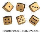 set of golden dice with black...   Shutterstock . vector #1087393421