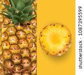 pineapple. vector illustration | Shutterstock .eps vector #1087395599