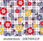 daisy flower pattern on plaid... | Shutterstock .eps vector #1087404119