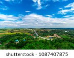 countryside with sky clouds... | Shutterstock . vector #1087407875