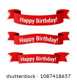 red banners with 'happy... | Shutterstock .eps vector #1087418657