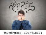 student afraid of questions | Shutterstock . vector #1087418831