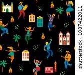 festa junina. vector seamless... | Shutterstock .eps vector #1087422011
