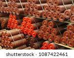 red conveyor rollers  drive... | Shutterstock . vector #1087422461