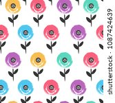 colorful floral flower seamless ... | Shutterstock .eps vector #1087424639