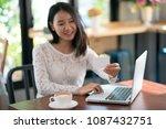 online payment  women hands...   Shutterstock . vector #1087432751
