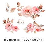 watercolor flowers and green... | Shutterstock . vector #1087435844