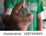 stopwatch in hand on a blurred... | Shutterstock . vector #1087444835