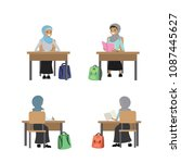 muslim student girls teenagers... | Shutterstock .eps vector #1087445627