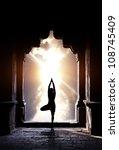 yoga vrikshasana tree pose by... | Shutterstock . vector #108745409