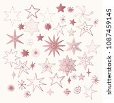 set of rose gold stars. sparkle ... | Shutterstock .eps vector #1087459145