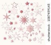 set of rose gold stars. sparkle ... | Shutterstock .eps vector #1087459145