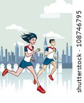 london runners. a man and a... | Shutterstock .eps vector #108746795