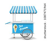 realistic street food cart with ... | Shutterstock .eps vector #1087471964