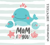 super cute whale. happy mother... | Shutterstock .eps vector #1087473311