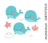 super cute whale. | Shutterstock .eps vector #1087473515